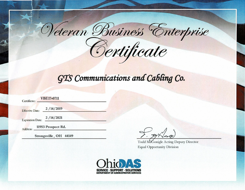 GTS Communications is proud to be certified as a Veteran-Friendly Business