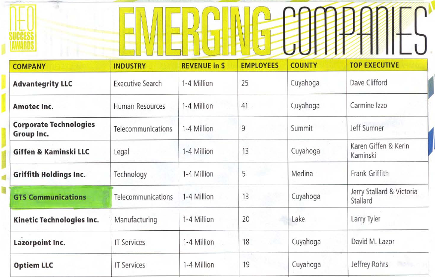 The List of NEO Success Awards Emerging Companies